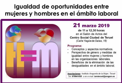 El IAM organiza mañana talleres en Huesca y Teruel para profundizar en la igualdad entre hombres y mujeres