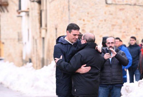 """Pedro Sánchez se compromete en Aragón a """"agilizar al máximo"""" las ayudas por el temporal"""